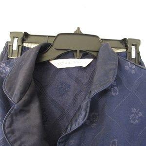 Vtg Victoria's Secret Blue Floral Pajama Set Sz M